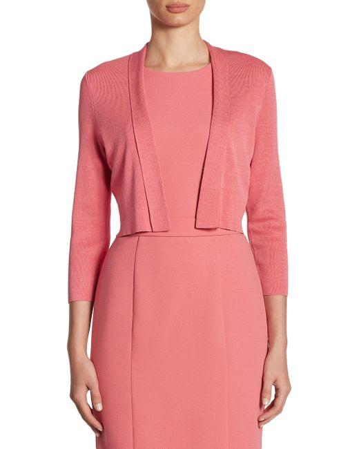 BOSS | Pink Fern Knit Cropped Cardigan | Lyst