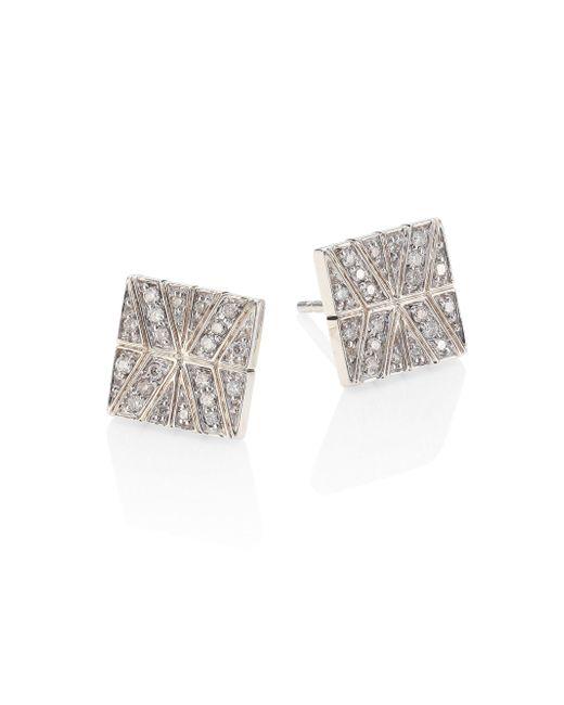 John Hardy - Metallic Modern Chain Diamond & Sterling Silver Stud Earrings - Lyst