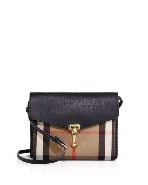 Burberry - Black Macken Small House Check & Leather Crossbody Bag - Lyst