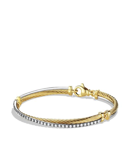 David Yurman - Metallic Crossover Bracelet With Diamonds In Gold And White Gold - Lyst