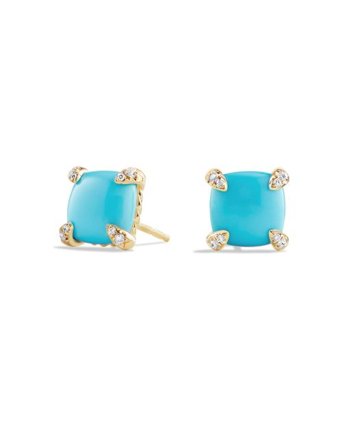 David Yurman - Blue Châtelaine Gemstone & 18k Gold Stud Earrings - Lyst