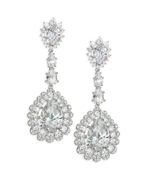 Adriana Orsini | Metallic Scalloped Crystal Teardrop Earrings | Lyst