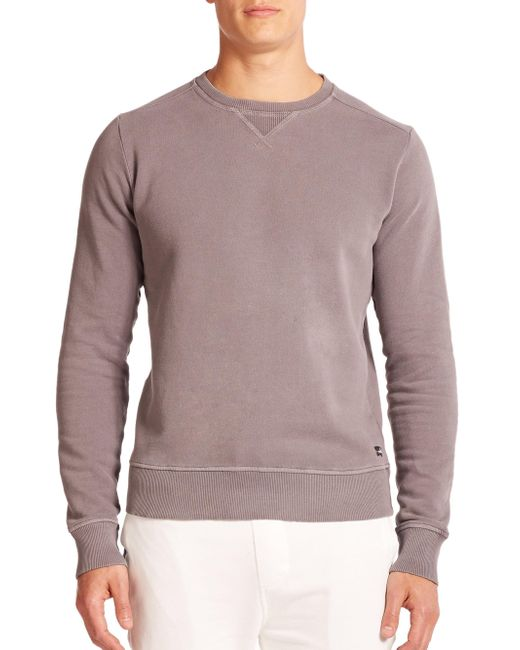 Wahts | Gray Cotton & Cashmere Crewneck Sweater for Men | Lyst