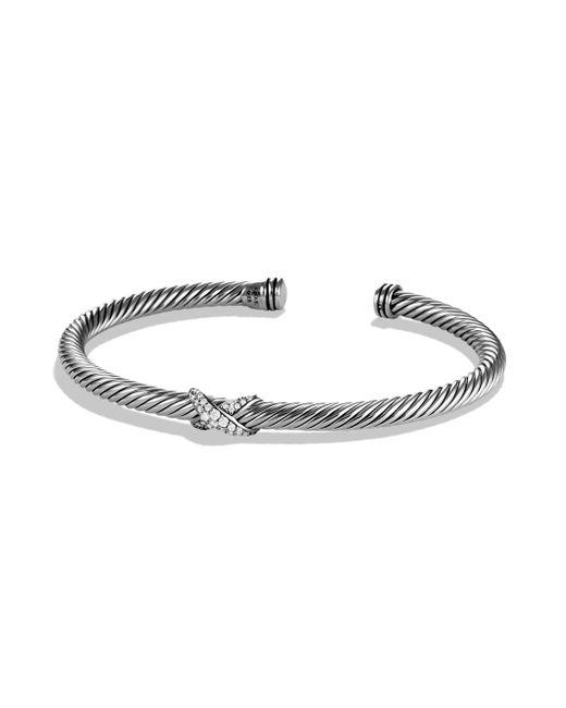 David Yurman - Metallic X Bracelet With Diamonds - Lyst