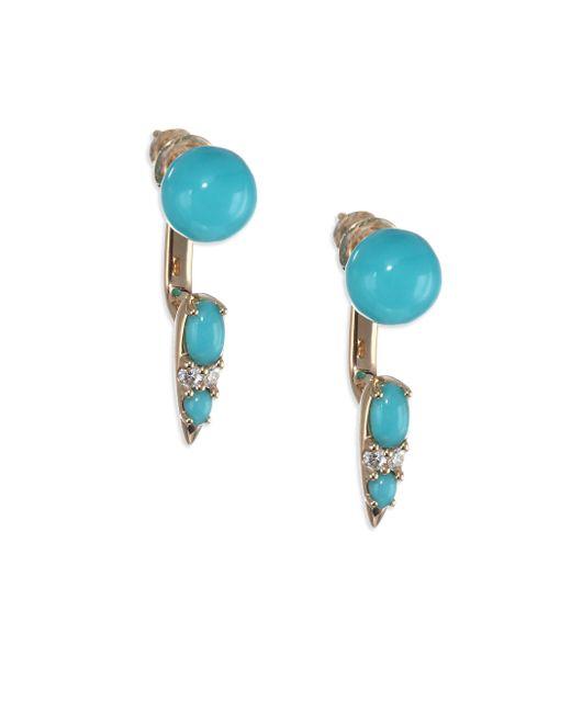 Nikos Koulis - Blue Spectrum 18k Yellow Gold, Turquoise & Diamond Drop Earrings - Lyst