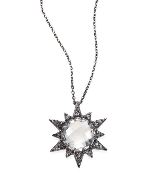 Anzie - Metallic Aztec Sunburst White Topaz & Sapphire Pendant Necklace - Lyst