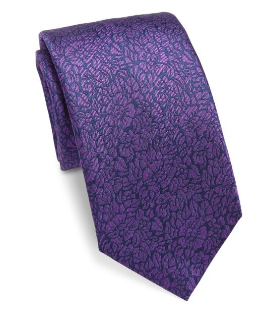 Saks Fifth Avenue | Purple Textured Floral Silk Tie for Men | Lyst