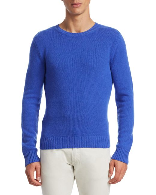 Ralph Lauren Purple Label - Blue Cashmere Crewneck Sweater for Men - Lyst