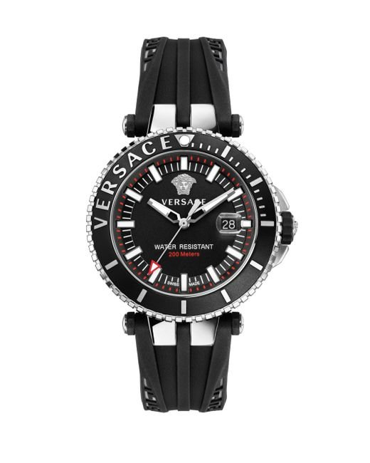 Versace - Black V-race Silicon Strap Diver Watch for Men - Lyst