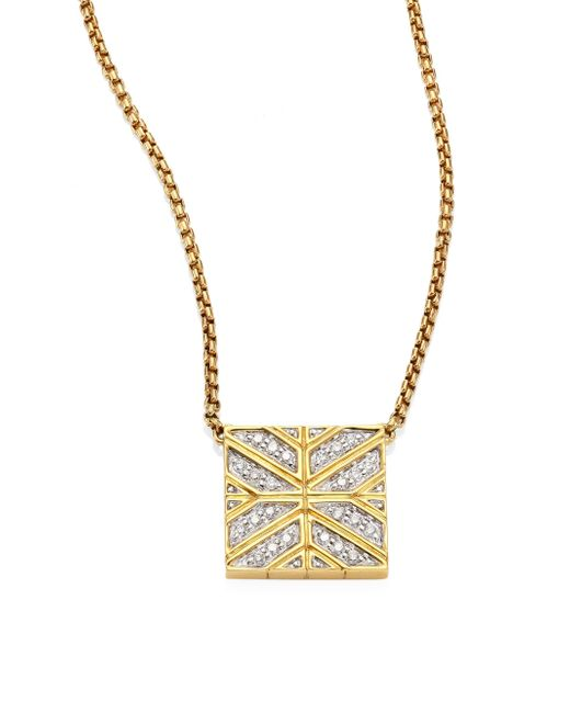John Hardy - Metallic Modern Chain Diamond & 18k Yellow Gold Pendant Necklace - Lyst