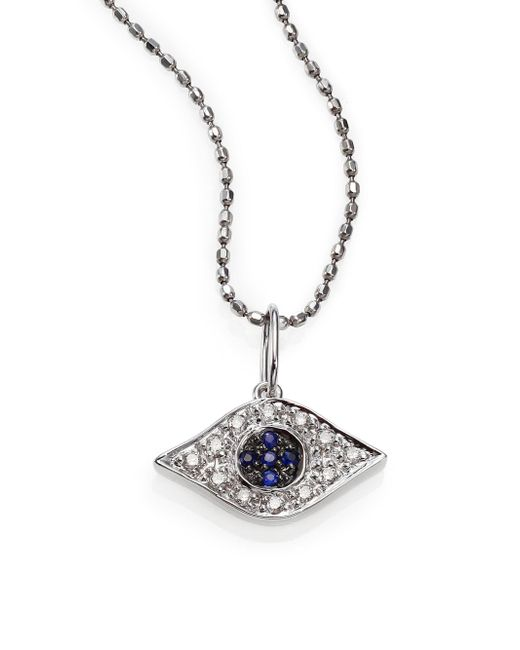 Sydney Evan | Diamond, Sapphire & 14k White Gold Small Evil Eye Pendant Necklace | Lyst