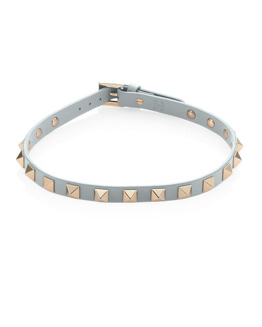 Valentino - Blue Rockstud Leather Choker - Lyst