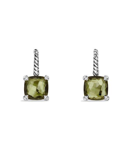 David Yurman - Green Women's Chã¢telaine® Drop Earrings With Gemstone And Diamonds - Hampton Blue Topaz - Lyst