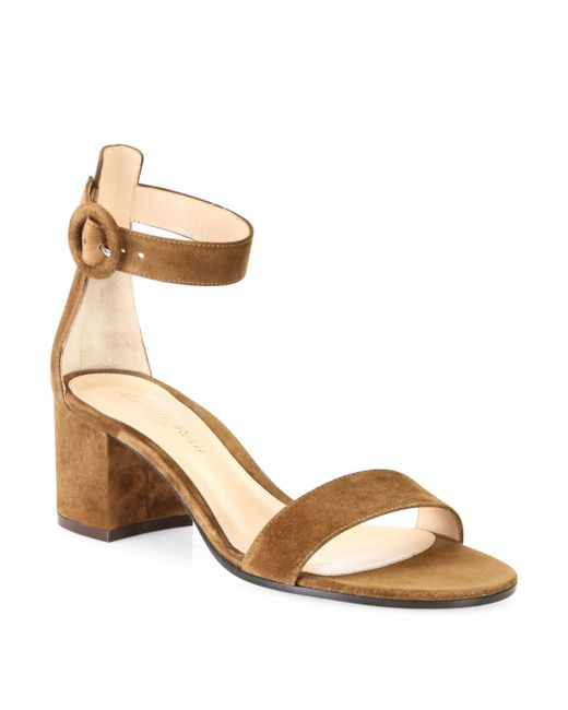 Gianvito Rossi - Brown Texas Suede Block Heel Sandals - Lyst