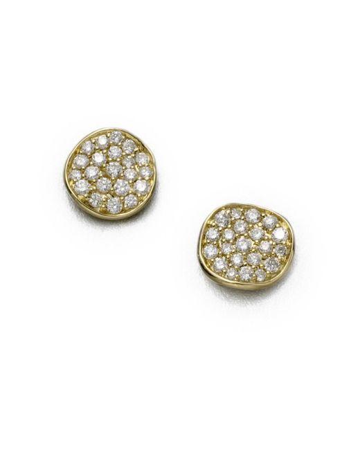 Ippolita - Metallic Stardust Diamond & 18k Yellow Gold Small Stud Earrings - Lyst