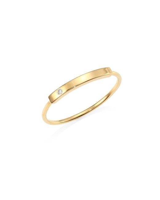 Zoe Chicco - Metallic Diamond Studded 14k Gold Bar Ring - Lyst