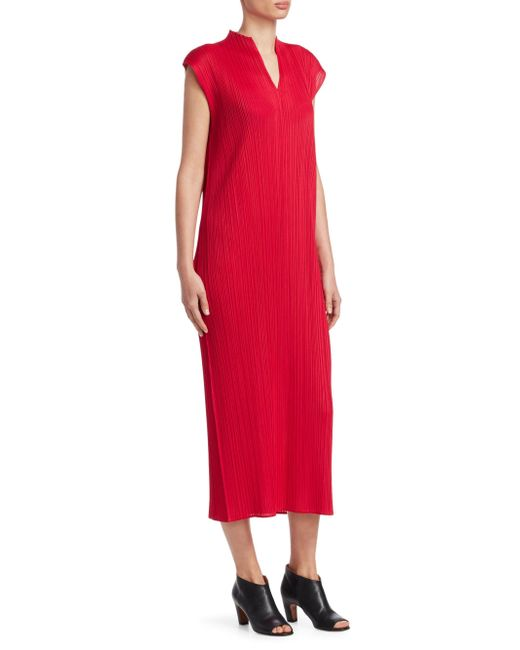 Pleats Please Issey Miyake - Red Monthly Colors Midi Dress - Lyst