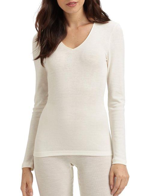 Hanro - White Woolen Silk Long Sleeve Shirt - Lyst