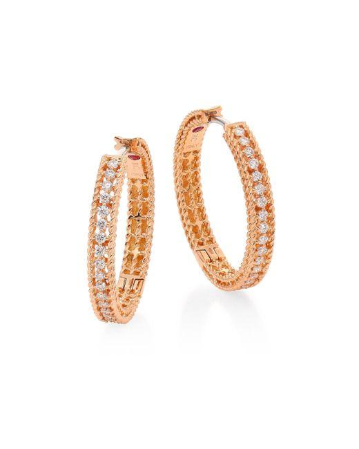 Roberto Coin - Metallic Symphony Diamond & 18k Rose Gold Hoop Earrings/0.75 - Lyst