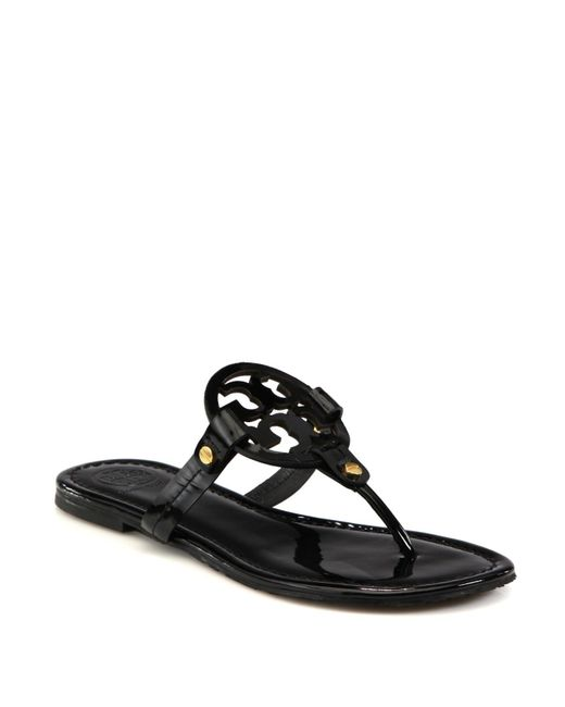 Tory Burch | Black Miller Patent Leather Logo Thong Sandals | Lyst