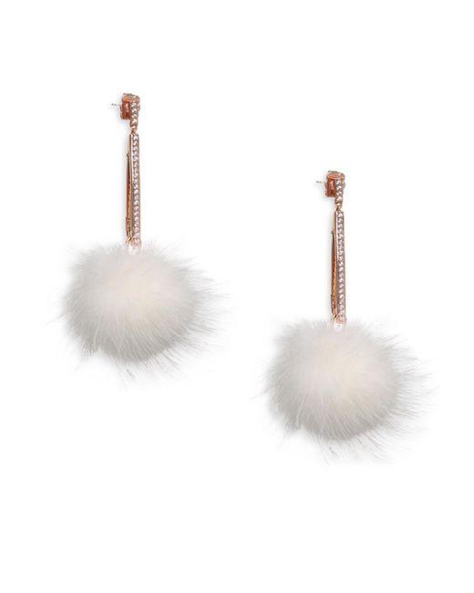 Adriana Orsini - Multicolor Mink Ball Earrings - Lyst