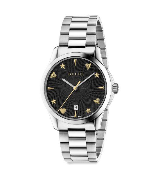 Gucci - Metallic G-timeless Guilloche Sapphire Crystal Quartz Stainless Steel Watch - Lyst