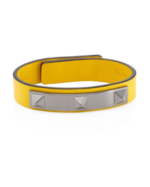 Valentino - Yellow Studded Leather Bracelet - Lyst