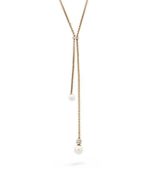 Michael Kors | Metallic Classic Modern Faux-pearl Lariat Necklace | Lyst