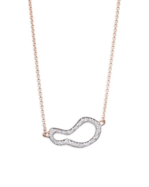 Monica Vinader - Metallic Riva Small Diamond Pod Pendant Necklace/rose Goldtone - Lyst