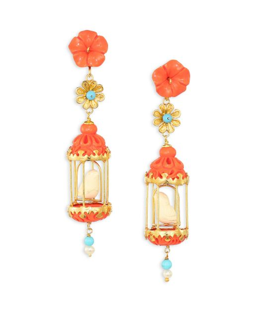Of Rare Origin | Multicolor Aviary Classic Coral, Turquoise, Bone & Freshwater Pearl Drop Earrings | Lyst