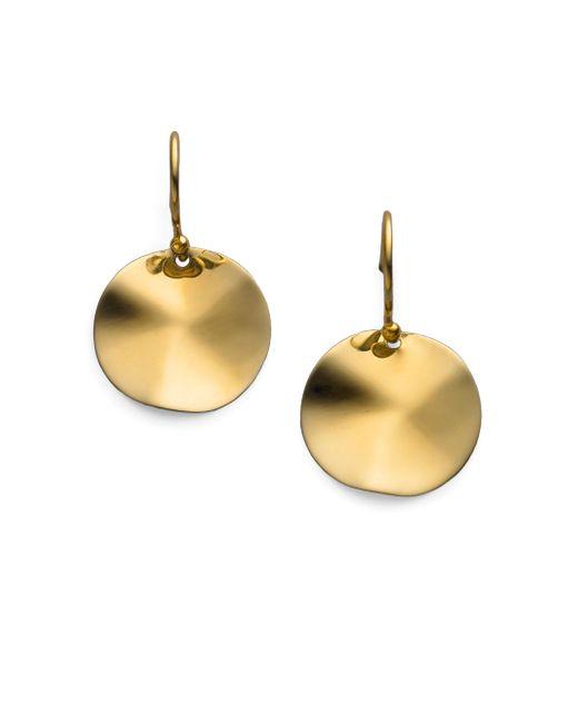 Ippolita | Metallic Glamazon Sculptural Metal 18k Yellow Gold Mini Wavy Disc Drop Earrings | Lyst