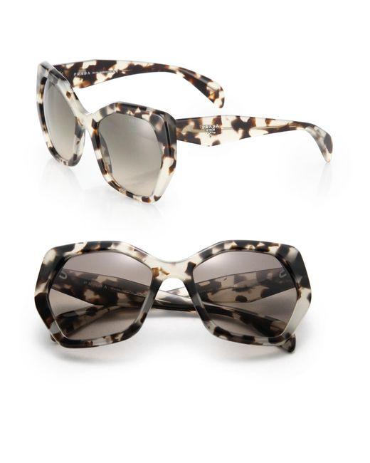 Prada - Gray Angular 56mm Pentagonal Sunglasses - Lyst