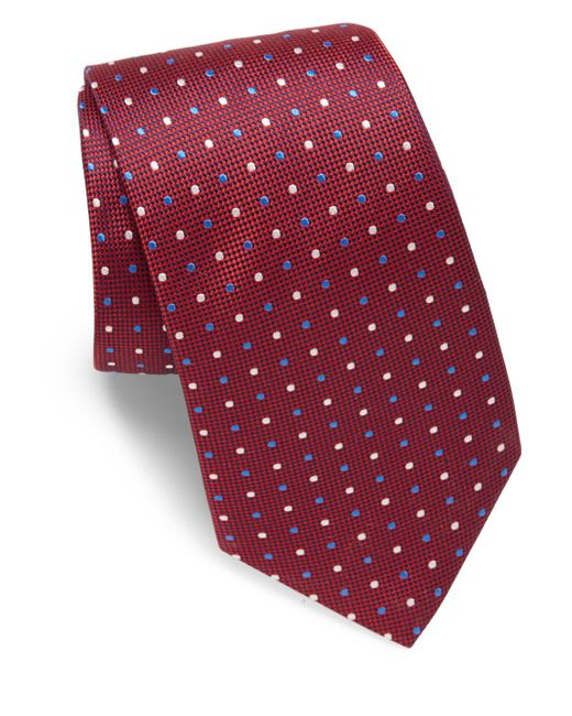 Eton of Sweden - Red Two-tone Dotted Silk Tie for Men - Lyst