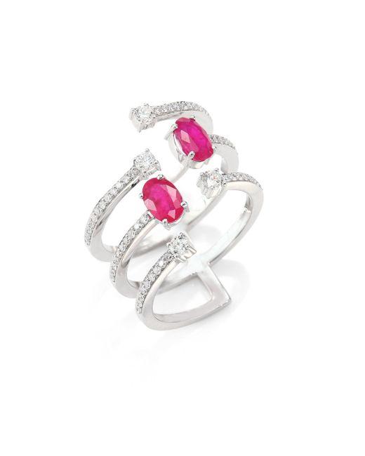 Hueb - Metallic Rainbow Ruby, Emerald & 18k White Gold Ring - Lyst