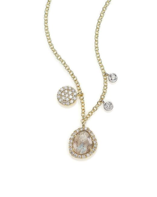 Meira T - Pink Diamond, Labradorite, 14k Yellow Gold & 14k White Gold Charm Necklace - Lyst