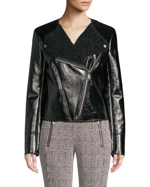 Michael Kors - Black Michael Petite Faux-shearling Jacket - Lyst