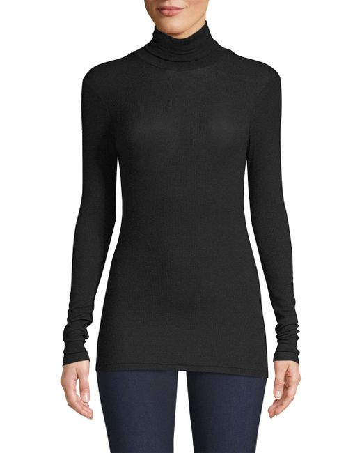 ATM - Black Rib-knit Turtleneck - Lyst