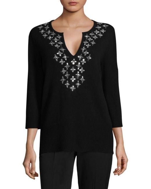 Michael Kors | Black Embellished Cashmere Top | Lyst