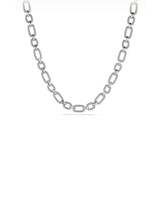 David Yurman   Metallic Cushion Link Chain Necklace With Diamonds   Lyst
