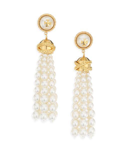 Tory Burch | White Beaded Tassel Earrings | Lyst