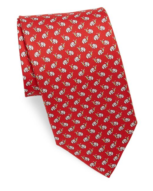Ferragamo - Red Silk Elephant Ice Cream Tie for Men - Lyst