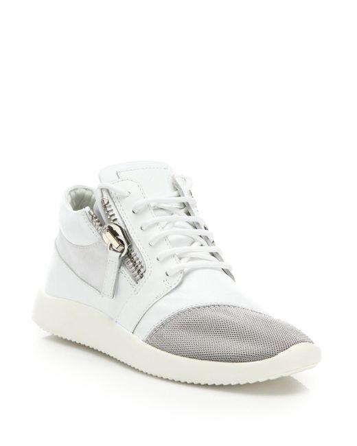 Giuseppe Zanotti - White Leather & Mesh Side-zip Sneakers - Lyst