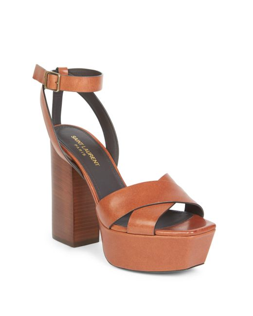 Saint Laurent | Brown Farrah Ankle Strap Leather Platform | Lyst