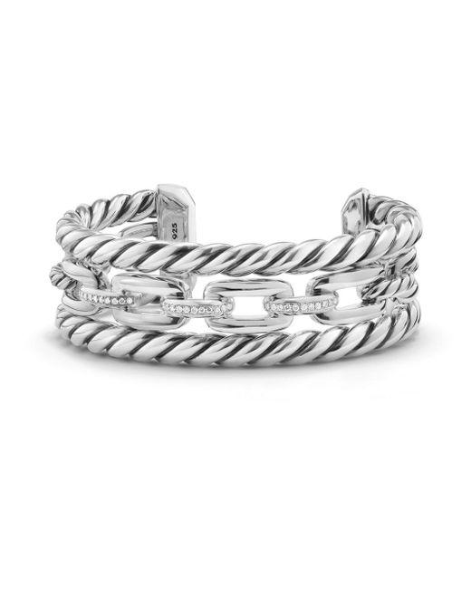David Yurman | Metallic Wellesley Link Pave Diamond & Sterling Silver Three-row Cuff | Lyst