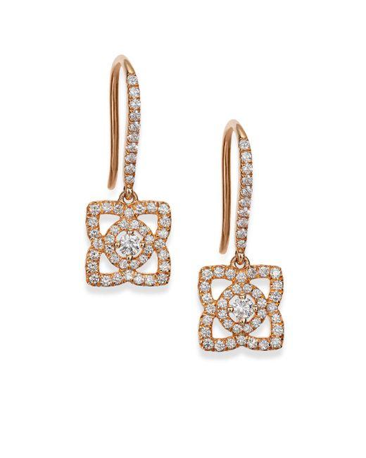 De Beers   Metallic Enchanted Lotus Diamond & 18k Rose Gold Drop Earrings   Lyst