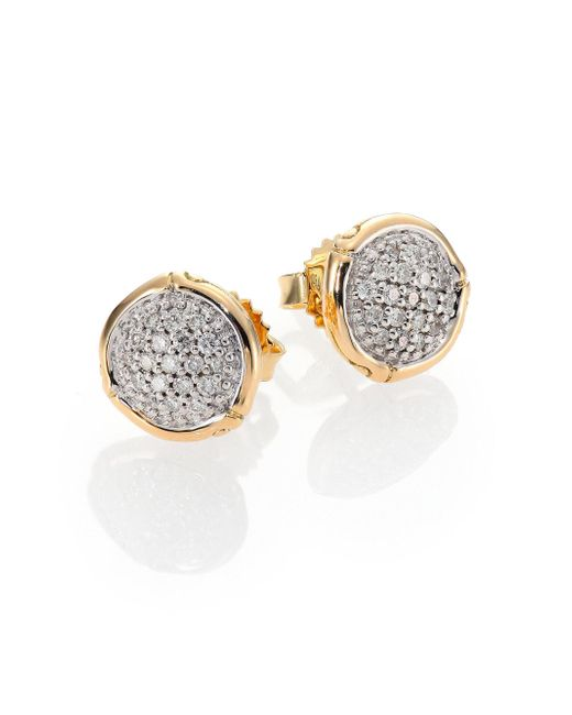 John Hardy | Metallic Bamboo Small Diamond & 18k Yellow Gold Round Stud Earrings | Lyst