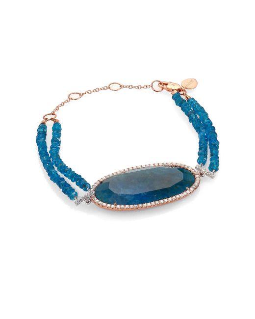 Meira T - Metallic Apatite, Diamond & 14k Rose Gold Two-row Beaded Bracelet - Lyst