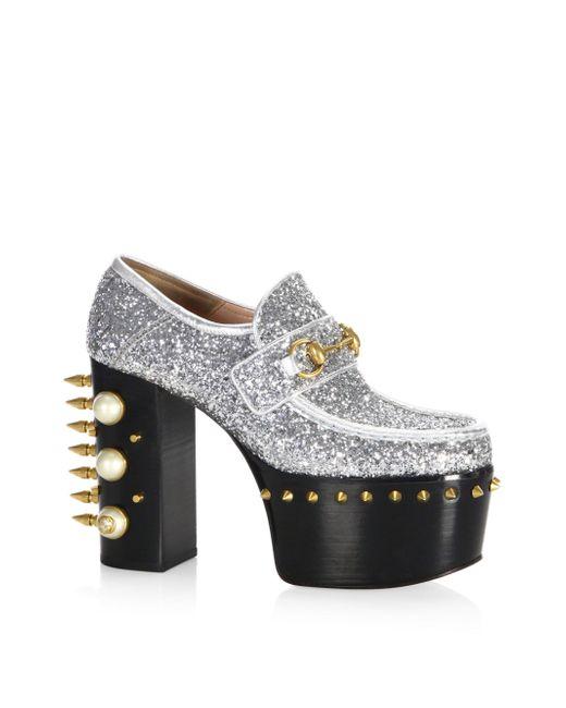 Gucci | Metallic Vegas Pearl & Stud Glitter Platform Pumps | Lyst