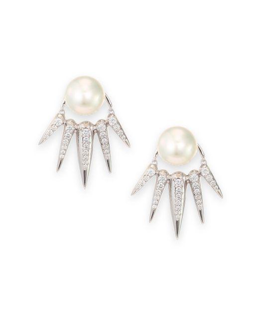 Nikos Koulis   Spectrum 16mm White Tahitian Pearl & Diamond Ear Jacket & Stud Earrings Set   Lyst