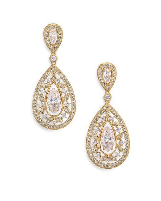 Adriana Orsini - Metallic Pavé Crystal Small Pear Drop Earrings/goldtone - Lyst
